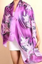 "100% Silk Scarf/175x50-Exquizite/Handmade*Silk-Art""Purple Orchids""Quality SilkBR"