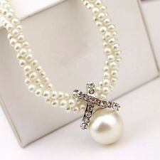 Women Lady Pendant Chain Choker Chunky Pearl Statement Bib Necklace Jewelry