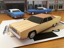 Papercraft Lincoln Town Car yellow color Paper Car EZU-build 1973 Toy Model Car
