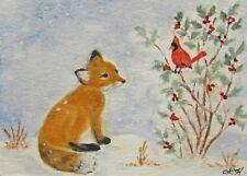 """ACEO Original Watercolor ~ """"Fox Kit & Cardinal Bird"""" ~ Wildlife Miniature Art"""