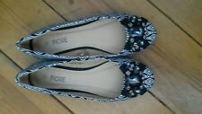 NWOB WOMENS BALLERINA PUMPS BY FIORE BLACK/WHITE PATTERNED UK5 EU38 AB FAB!