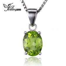 JewelryPalace 2.2ct Genuine Peridot Pendant Necklace18in 925 Sterling Silver HOT