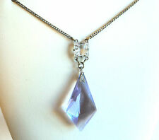 c.1930s Original LIGHT LILAC-BLUE Art Deco GLASS PENDANT NECKLACE Silvertone