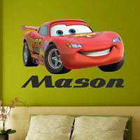 ANY NAME Disney CARS Wall Stickers Boys Lightning McQueen Kids Bedroom Decor