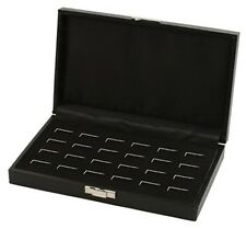 12 Pair Grained Leatherette Black Cufflinks Mens Jewelry Display Box Case