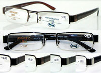 L408 High Quality Semi-Rimless Reading Glasses Spring Hinge Classic Style Design