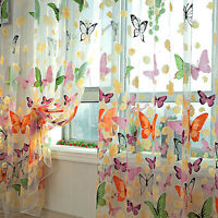Voile Curtain Door Window Decor Panel Room Divider Butterfly Printed Sheer