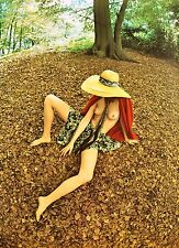 Sam Haskins Photo Art Poster 1972, limited Edition, 35x48cm, Nude Woman Forest