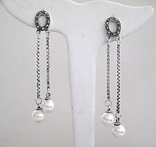 Beautiful Faux Pearl, Marcasite & Silver Double Drop Earrings