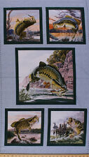 "23.5"" X 44"" Panel Top Rod Bass Fish Fishing Nature Cotton Fabric Panel D786.57"