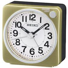 Seiko QHE118G Antique Sweep Second Hand Bedside Beep Alarm Clock - Gold / White