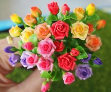 10 Pcs Miniature Colorful Rose Flowers Home Decorative Clay Handmade Collectible