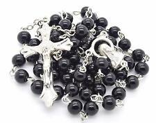 "MEN'S CATHOLIC ROSARY black glass 6 mm beads silver plated cross crucifix 20"""