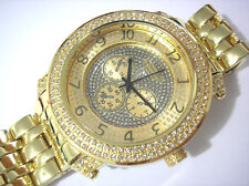 Iced Out Bling Bling Big Case Hip Hop Techno King Men's Watch Gold Item 2707