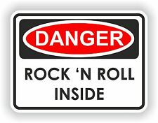 Peligro Rock & Roll advertencia Etiqueta Auto Moto Heavy Metal Guitar Music Band