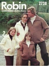 "RO2738 LADIES MENS & CHILDS CHUNKY ZIPPER JACKETS KNITTING PATTERN 24-44""/61-112"