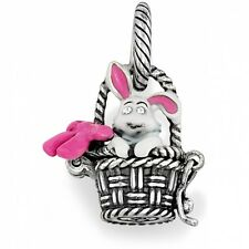 BRIGHTON EASTER BUNNY RABBIT PINK BOW BASKET EGGS CRYSTAL CHARM PENDANT RETIRED