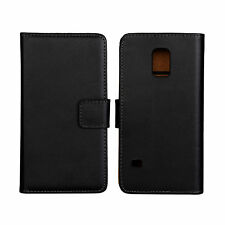 Black Genuine Leather Business Wallet Case Cover Stand for Samsung Galaxy S5
