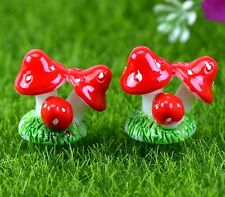 FD2297 Mushroom Miniature Dollhouse Ornament Flower Pot Plant Craft DIY Red 1pc