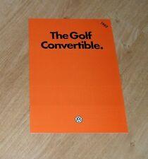 Volkswagen VW Golf Mk1 Convertible Brochure 1981-1982 GLi & GLS