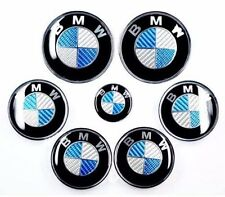 BMW Complete Set 7x (82+74+68+45mm) Carbon Fiber Blue/White Emblem Logo For BMW
