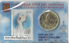 VATICAN CITY   STAMP & COIN CARD 50 CENT 2011-N* 1   COINCARD    Officiële set