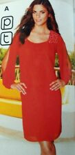 BNWT * NEXT * Size 6 Petite Red Chiffon Dress white embellished beads RRP £55 XS