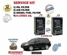 FOR TOYOTA RAV 4 2.2 D4D 2006-  OIL AIR FUEL FILTER + 8 LITRE OIL SERVICE KIT