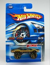 Hot Wheels 2006 #105 Olds 442 BLACK,GOLD EXTRA LARGE 5SP,CHROME BASE,CREASE CARD
