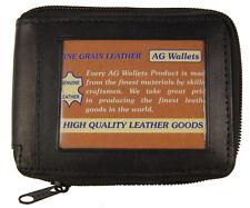 Genuine Leather Men's Zipper Zip-Around Organizer Bifold Wallet Black Outside id
