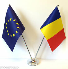 European Union EU & Romania Flags Chrome and Satin Table Desk Flag Set