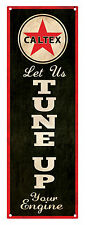 CALTEX 'Tune Up Your Engine' VERTICAL Rustic Tin Sign 60 x 20 cm CALTEX TIN SIGN