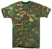 ARMY WOODLAND DPM CAMO T-SHIRT Mens Medium Military khaki camouflage cotton tee