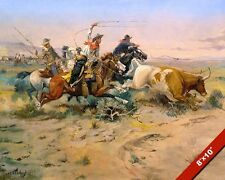 COWBOYS WRANGLING CATTLE HERD LASSO OIL PAINTING ART REAL CANVAS GICLEEPRINT