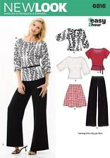 NEW LOOK Sewing Pattern Miss Ladies Plus Skirt+Trousers+Knit Tops ~6816 Sz 10-22