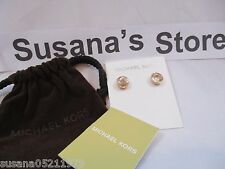 NWT Michael Kors Brilliance Botanical Stud Earrings Rose Gold /Clear So Amazing!