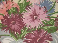 VTG PLEATED LINED PINK AFRICAN DAISY FLORAL BARKCLOTH ERA YELLOW FABRIC DRAPE PR