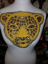 sequin lips animal lion cheetah embroidered lace applique motif patch costume