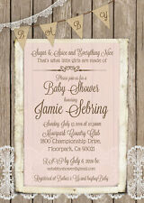 30 Pink Shabby Chic Wood and Lace Rustic Baby Girl Shower Invitations 5x7