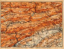 Carta geografica antica SVIZZERA Jura nord-est Old Map Switzerland Suisse 1905
