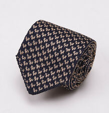 "NWT $195 LUCIANO BARBERA Slim 2.5"" Knit Silk Tie Navy Blue-Tan Neat Pattern"