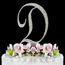 "Large Rhinestone Crystal Silver Monogram Letter ""D""  Wedding Cake Topper 5"" Tall"