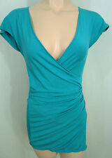 Intimo Blue Stretch Jersey Wrap Top Size 8