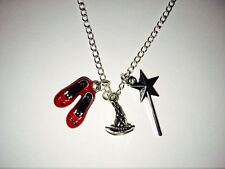 WIZARD OF OZ SILVER NECKLACE WITH 3 CHARM PENDANTS RUBY SLIPPERS WAND #KC20