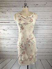 Kay Unger Ivory Pink Floral Print Tiered Silk Cowl Sleeveless Dress Womens Sz 6