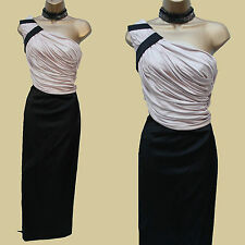 Karen Millen Lim Edition One Shoulder Drape Satin Jersey Long Gown Maxi Dress 10