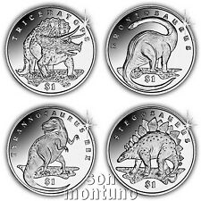 LOST WORLD OF DINOSAURS - Set of 4 Uncirculated $1 CuNi Coins 2006 SIERRA LEONE