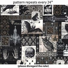 """MICHAEL MILLER """"NEVERMORE COLLAGE"""" Edgar Allen Poe- Like Fabric by the Yard"""