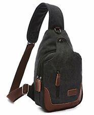 Violet Mist Mens Crossbody Bag Vintage Canvas Shoulder Chest Sling Bag Black