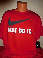 NIKE JUST DO IT SWOOSH ATHLETIC FITNESS WORKOUT GYM T-SHIRT RED BLACK LARGE LG